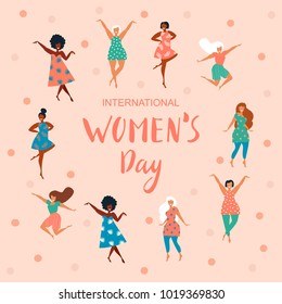 International Women's Day. Vector template with lettering design and texture. Vector illustration.