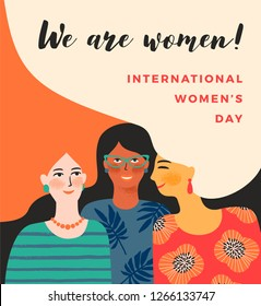 International Womens Day. Vector template with women for card, poster, flyer and other users