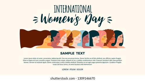 International Womens Day. Vector template with women different nationalities and cultures. Struggle for freedom, independence, equality.