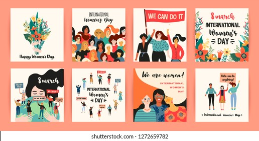International Womens Day. Vector templates with women different nationalities and cultures. Struggle for freedom, independence, equality.
