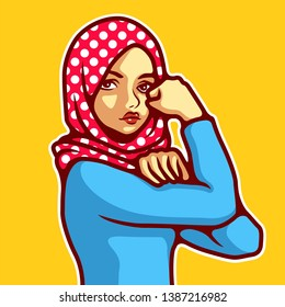International women's day vector, Woman wearing hijab in classic Rosie the Riveter pose. - Vector