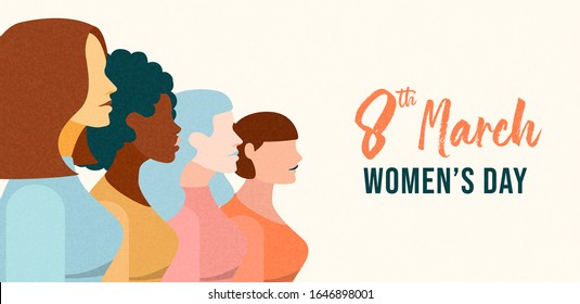 International Women's Day web banner illustration of diverse women team from different cultures for woman rights event concept or female holiday celebration.
