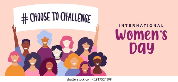 International Women's Day web banner illustration. Choose to challenge campaign design for female rights event. Diverse woman group holding protest sign together with hand raised up.