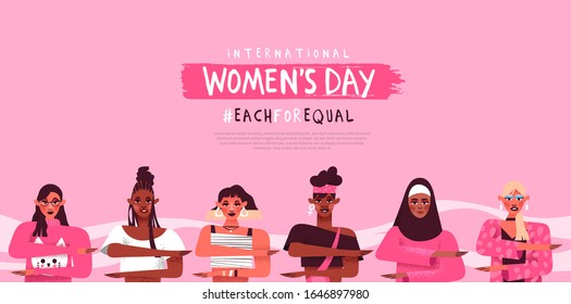 International women's day web template background. Diverse female characters making equality arm gesture, each for equal diversity campaign design. Women rights event concept.