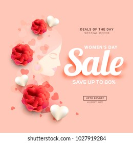 International Womens Day,Sale Banner or Sale Poster Background.