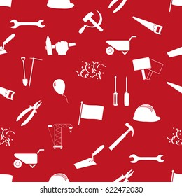international worker day or labor day theme icons seamless pattern eps10