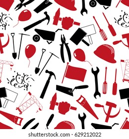 international worker day or labor day theme set of red and black icons seamless pattern eps10