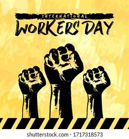International workers day event design with yellow background
