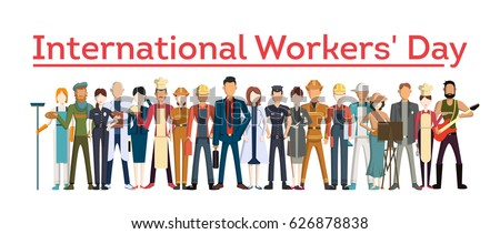 International worker's day. People with different jobs as plumber, doctor and more. White background.