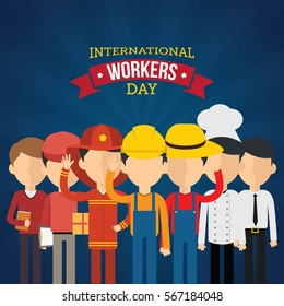 International Worker's Day Vector Illustration. Suitable for Greeting Card, Poster and Banner.