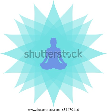 International yoga day bright colors vector art. Peace of mind and astral projections and concentration