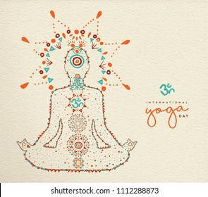 International yoga day card. Person relaxing in lotus pose made of indian culture boho style decoration, zen meditation exercise illustration. EPS10 vector.