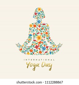 International yoga day design for special event. Girl meditating in lotus pose made of flower decoration, relaxation exercise illustration. EPS10 vector.
