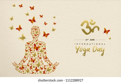 International yoga day greeting card for special event. Woman meditating in lotus pose made of gold butterfly decoration, relaxation exercise illustration. EPS10 vector.
