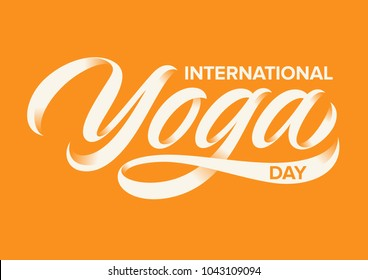 international yoga day, handwritten text, calligraphy, lettering