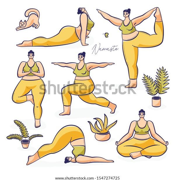 International yoga day poster, young girl practicing yoga illustration with cat and pots