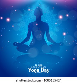 International Yoga Day vector illustration banner, brochure and poster design. June 21st celebrates world yoga day