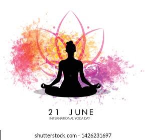 International Yoga Day vector illustration banner, brochure and poster design. June 21st celebrations of world yoga day