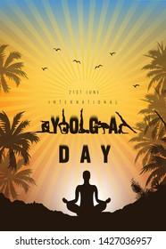 International Yoga Day vector illustration banner, brochure and poster design. June 21st celebrates world yoga day - Vector