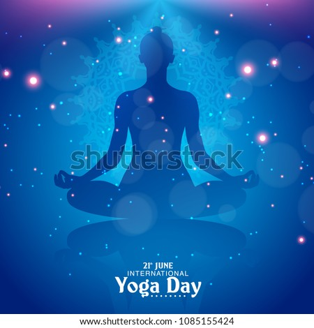 6345434ee Vetor stock de International Yoga Day Vector Illustration Banner ...