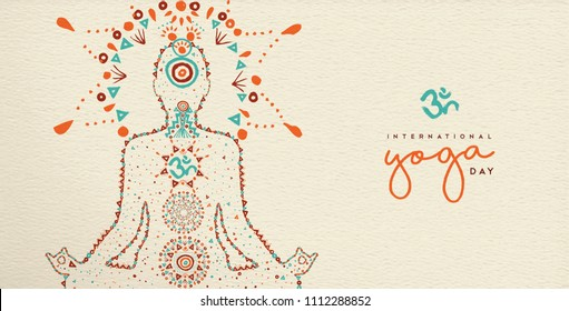 International yoga day web banner. Person relaxing in lotus pose made of indian culture boho style decoration, zen meditation exercise illustration. EPS10 vector.