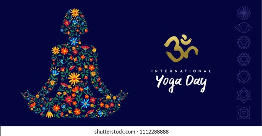 International yoga day web banner for special event. Girl meditating in lotus pose made of flower decoration, relaxation exercise illustration. EPS10 vector.