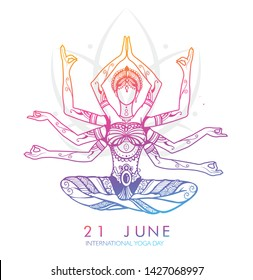 International yoga day web banner. Person relaxing in lotus pose made of indian culture boho style decoration,International Yoga Day  June 21st.  EPS10 vector.
