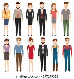 International young people character and couples collection. Vector character.