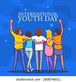 International youth day. August 12.Vector illustration.Hand Drawn Sketch.the purpose is cultural and legal issues surrounding youth.The concept of friendship, healthy lifestyle, success.