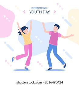 International youth day. August 12.Vector illustration.Hand Drawn Sketch. the purpose is cultural and legal issues surrounding youth. The concept of friendship, healthy lifestyle, success. EPS 10