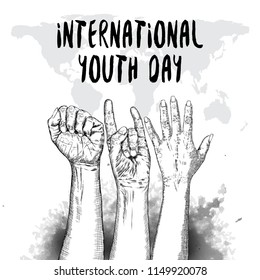 International Youth day design on annual 12 August celebration. Hand drawn sketch concept. Design of friendship day. Friends day. Vector.