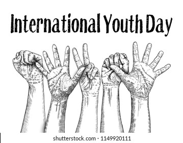 International Youth day design on annual 12 th August celebration. Hand drawn sketch concept. Vector.