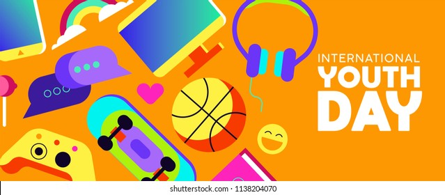 International Youth Day web banner with colorful modern teen leisure activity decoration. Includes social network technology, gaming controller, sports ball and more. EPS10 vector.