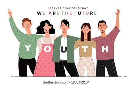 International Youth Day. Young girls and guys hug. Company of friends.