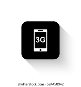 internet 3g - white vector  icon with shadow
