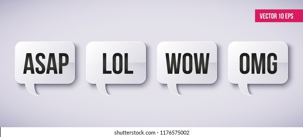 Internet Acronyms, Abbreviations in Chat Bubbles. Words WTF,  WOW, OMG, LOL on a speech bubble. Networking and conversation. Illustration