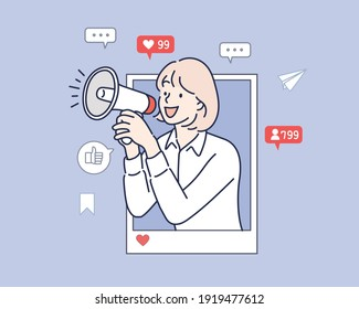 internet advertisement. Hands holding smartphone with a man shouting in loud speaker. Influencer marketing, social media or network promotion,Hand drawn style vector design illustration.
