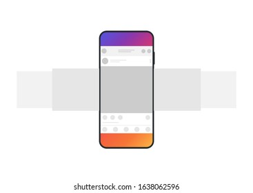 Internet application interface on a smartphone screen. Smartphone with carousel interface post on social network. Minimal design.