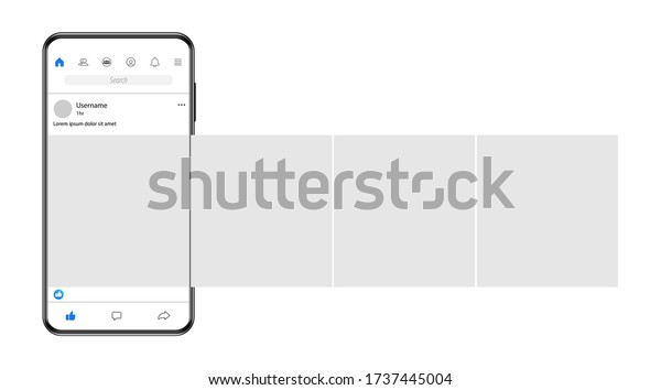 Internet application on the screen of a real smartphone. Post carousel on popular social networks. Vector illustration.