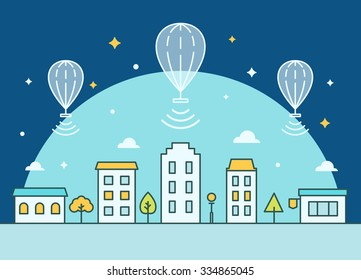 Internet Balloons Floating above the Town. Providing Access Illustration