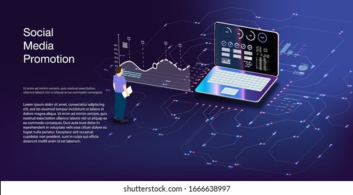 Internet bank and immediate payment  Seo optimization for target searching process. ector illustration isometric style. Online pay, electronic bill payment notification.