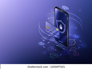 Internet banking concept. Isometric mobile phone banner. Online payment, security transaction via credit card. Wireless pay through phone. Digital technology transfer pay.
