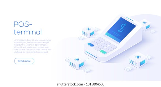 Internet banking concept in isometric vector illustration. Digital payment or online money transfer service. POS terminal for contactless pay. Website banner or webpage layout template.