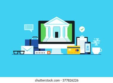 Internet banking. Flat design modern vector illustration concept.