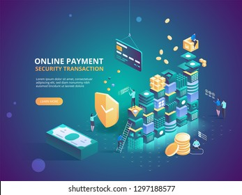 Internet banking. Online payment security transaction. Protection shopping wireless pay through smartphone. Digital technology transfer pay. Vector isometric illustration