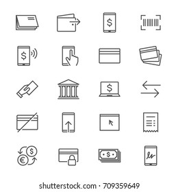 Internet banking thin icons