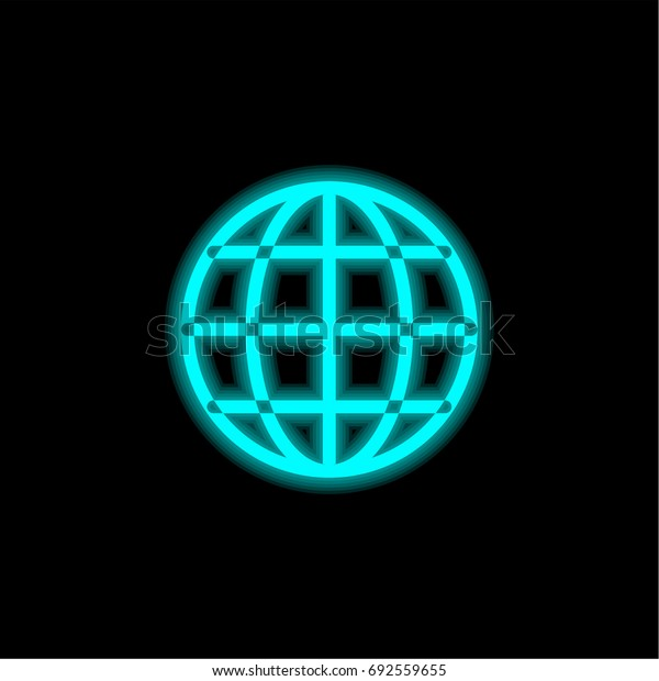 Internet blue glowing neon ui ux icon. Glowing sign logo vector