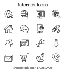 Internet browser icon set in thin line style
