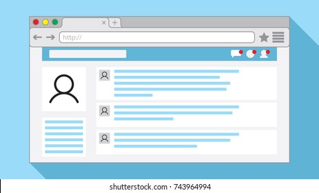 Internet browser window with an open social network web page on light blue background