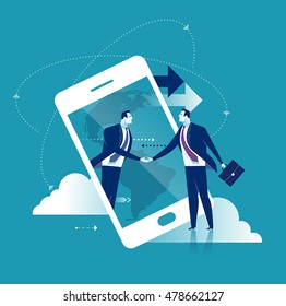 Internet Business. Businessmen shaking hands through display of a big smart phone. Business concept vector illustration.
